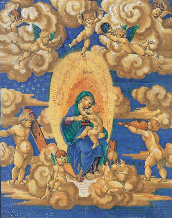 Targa La Vergine e il Bambino in Gloria tra angeli musicanti