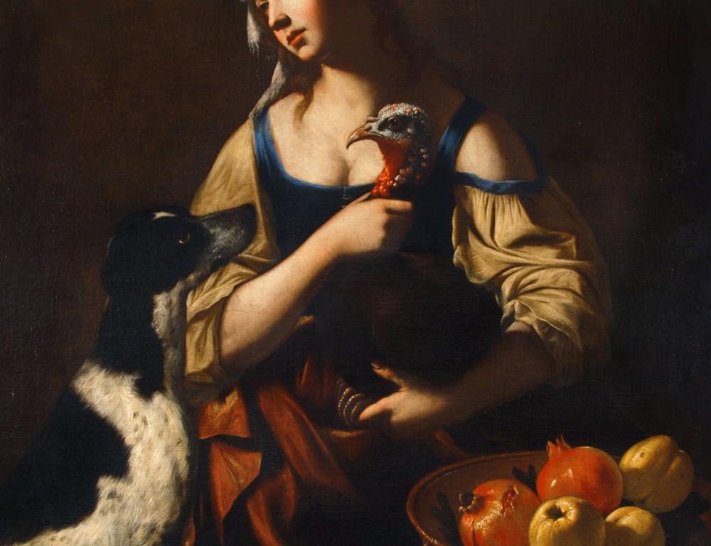 Cuciniera con un tacchino, un cane, un'oca, un'anatra e un cesto di frutta