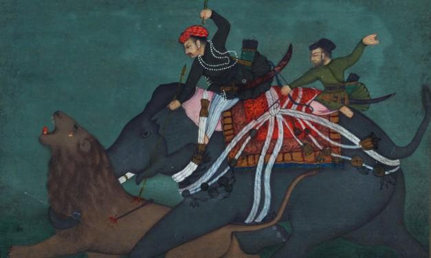 L'imperatore Jahangir caccia un leone