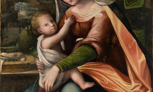 Madonna con il Bambino assisa in un interno domestico