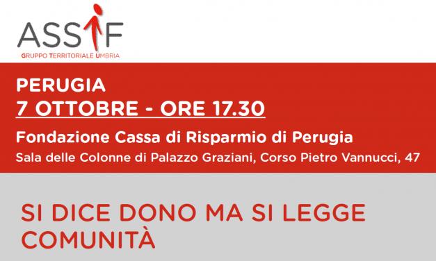 Il ruolo del dono nelle comunità future, se ne parla a Perugia